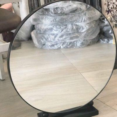 Gương bàn phấn viền thép đen