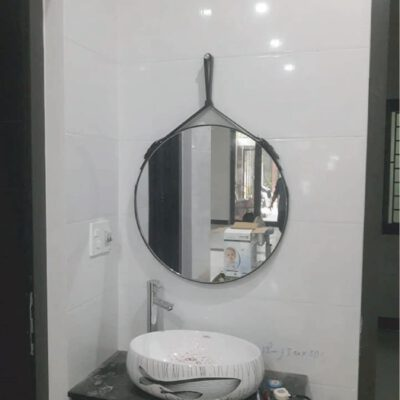 Gương tròn bọc dây da