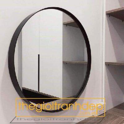 Gương trang điểm hình oval viền thép