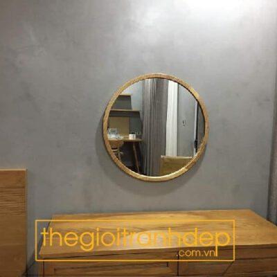 Gương trang điểm tròn viền gỗ