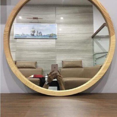 Gương trang điểm tròn viền gỗ 2