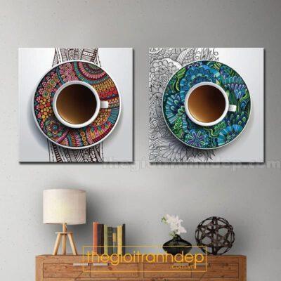 Tranh treo tường 2 tách cafe