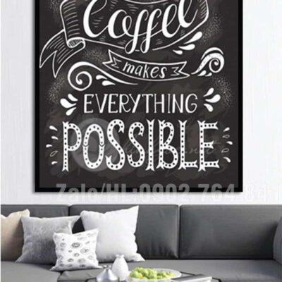 Tranh treo tường cafe trắng đen