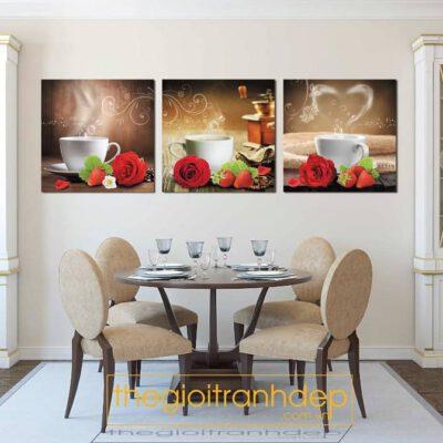 Tranh treo tường cafe và hoa hồng