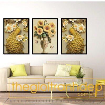Tranh treo tường chim công và hoa
