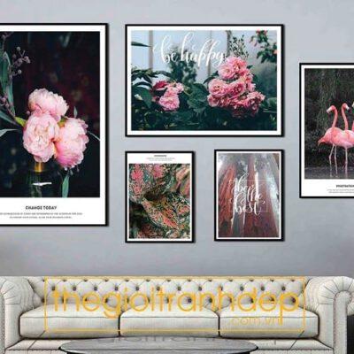 Tranh treo tường chim và hoa