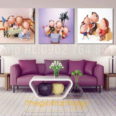 Tranh treo tường gia đình vui vẻ