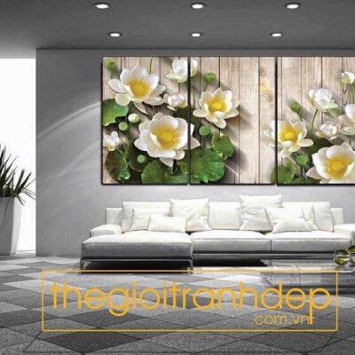 Tranh treo tường hoa sen trắng