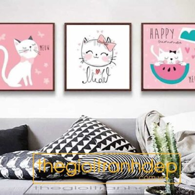 Tranh treo tường mèo con dễ thương