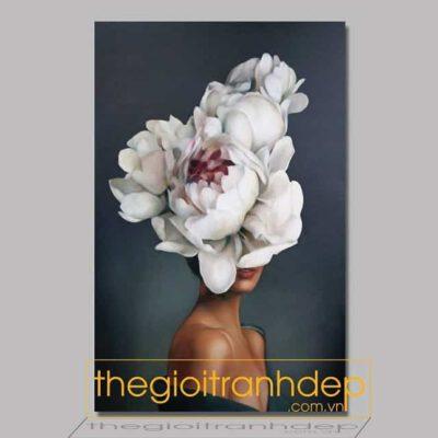 Tranh treo tường cô gái và hoa 2