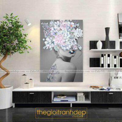 Tranh treo tường cô gái và hoa 4