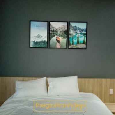 Tranh treo tường phòng ngủ thuyền và sóng