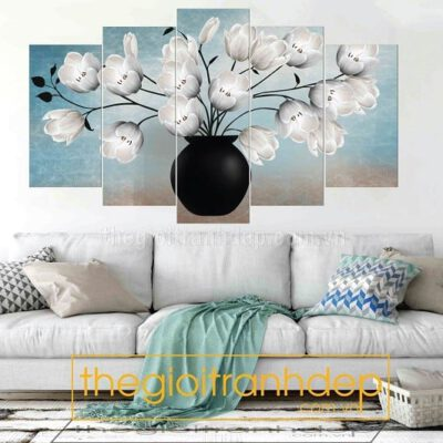 Tranh treo tường hoa mộc lan trắng 5 tấm