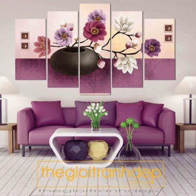 Tranh treo tường hoa đào 5 tấm