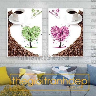 Tranh treo tường tình yêu cafe