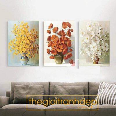 Tranh treo tường vàng cam trắng