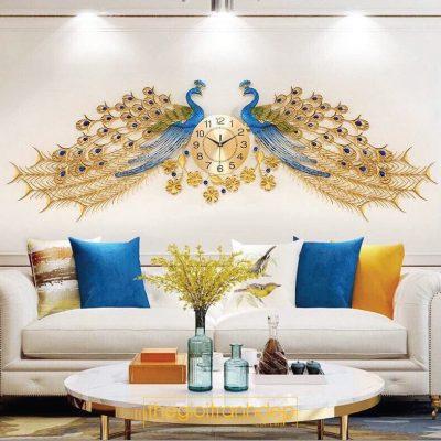 Đồng hồ treo tường đôi chim công 2