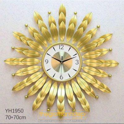 Đồng hồ treo tường hoa mặt trời vàng
