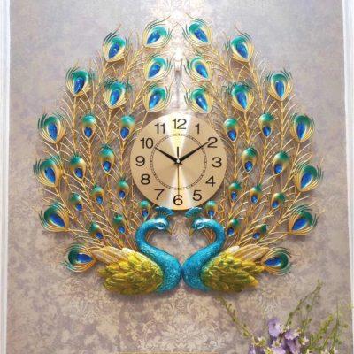 Đồng hồ treo tường đôi chim công 3