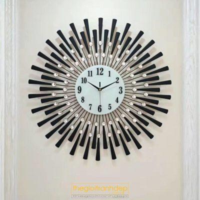 Đồng hồ treo tường hoa mặt trời đá đen