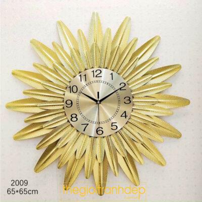 Đồng hồ treo tường lá vàng