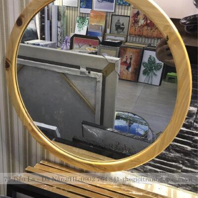 Gương tròn viền gỗ