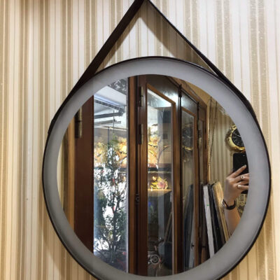 Gương đèn led dây da treo tường