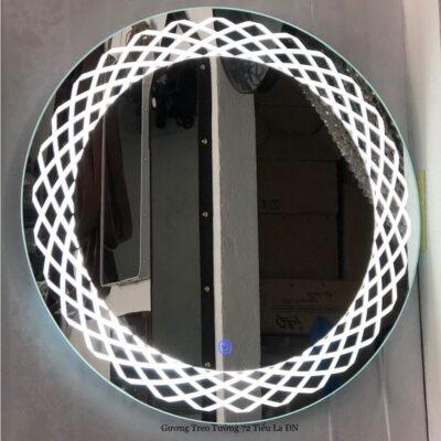 Gương đèn led tròn viền đan lưới